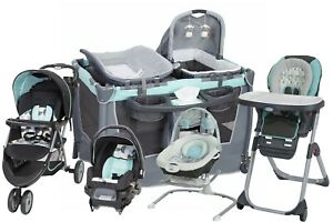 Baby Boy Stroller with Car Seat Travel System High Chair Bouncer Playard Combo