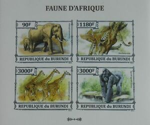 African fauna Jaguar Elephant Gorilla Giraffe Burundi Sc.1381 #BUR13305a IMPERF