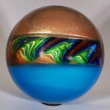"Wald marbles handmade aventurine Lutz & uranium glass marble 2.54"""