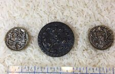 Three Vintage Coat Buttons, Metal, Floral Pattern(44)