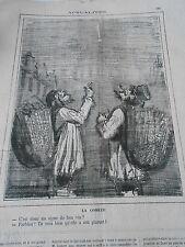 Caricature 19ème  La Comète Un signe de Bon Vin