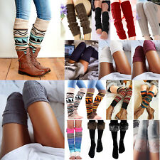 Women Knit Crochet Winter Leg Warmers Socks High Knee Long Boot Legging Stocking