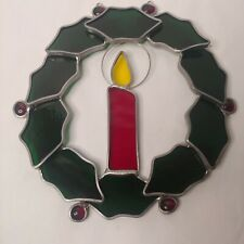 """Vintage Christmas Stained Glass Holly Candle Wreath 8"""" Hanging Glow Suncatcher"""