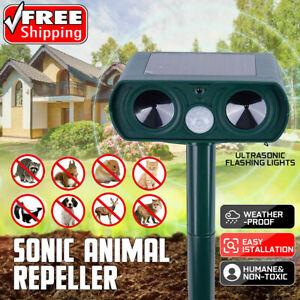 Solar Power Cat Repellent Scarer Deterrent Ultra Sonic Dog Fox Cat Pest Animal T