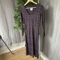 MISTRAL Purple Multicolour Floral SIZE 10 UK Long Sleeve Pulled Jersey Dress
