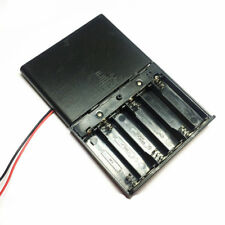 1 Pcs 6 x AA  Battery Holder Box 9V DC Case with Wire Lead Cover Switch ON/OFF