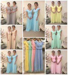 Mix Pastel Chiffon Bridesmaid Dress Cap Sleeve Wedding Maxi Ballgown Prom UK