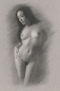 Nude Female ORIGINAL DRAWING Charcoal Fine Art naked woman standing NO RESERVE