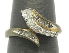 Sterling Silver Oxidized Gold Tone CZ Pave Baguette Bypass Cocktail Band Ring 7