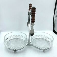 Vintage Relish Tray Double Serving Bowls Sauce Double Silver Metal 2 Spoons