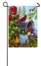 Kitten and Cardinal Special Delivery Christmas Garden Flag!  MAKE AN OFFER!