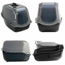 Cat Large high sided Litter Tray Charcoal Filter Box Hooded cat loo 55cm Grey
