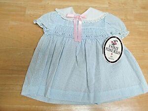 Vintage Polly Flinders Blue Striped Smocked Dress Size 9 Months Reborn