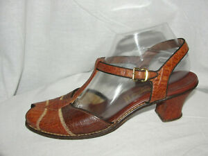 HEYDAYS Shoes Women's Size 9 Brown Croc Leather Ankle T-Strap Italian Pumps