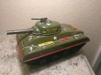 Rare Large Vintage Tin Friction Tank