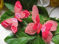 Artificial Butterflies - Red Gingham Check - Set of 2