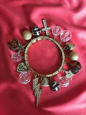 Betsey Johnson Vintage Lightning Bolt Glass Leopard Pearl Star Cross Bracelet