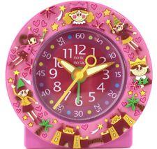Childs 11cm ALARM CLOCK Silent Movement FAIRYTALE Analogue Time Piece PINK Fairy