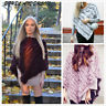 Brand New Real Farm Rabbit Fur Knitted Wrap Women Chic Shawls Cape Poncho Scarf
