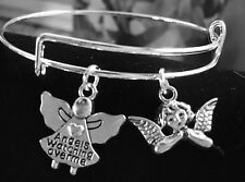 2 Angel Silver charms Expandable Bangle Bracelet (Angels Watching over Me)