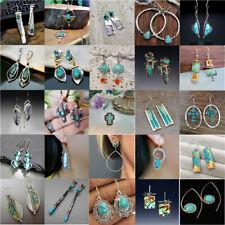 925 Silver Vintage Dangle Drop Earrings Ear Hook Turquoise Women Fashion Jewelry