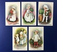 Christmas 5 E. Clapsaddle Antique Postcards. Wolf Series 25. For Collectors NICE