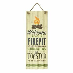"Welcome To Our Firepit Tin Sign - Indoor/Outdoor Decor - 27.5"" High"