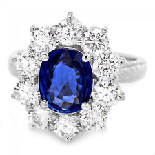 3.60Ct Natural Blue Sapphire & Diamond 18K Solid White Gold Ring