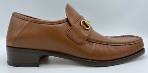 Gucci Khaki Leather Horsebit Loafers Size US 12 Made In Italy