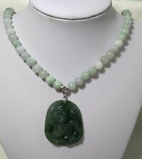 Certified Grade A jadeite jade Qilin(麒麟)Pendant 8mm jadeite jade necklace L50cm
