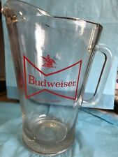 New listing Budweiser Glass Pitcher With Red Bow Tie Emblem-sm