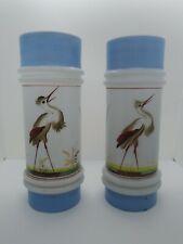 "Pair of Antique Bristol Bohemian Painted Crane Milk Glass Cylinder Vases 9 3/4"""