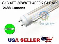 "G13 4FT 20W 4000K CLEAR T8 48"" LED Tube Light Fluorescent Replacement 2688 Lumen"