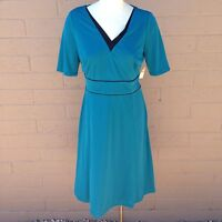 Coldwater Creek Knit Dress Color Contrast Teal Blue Black V-Neck Short-Sleeve 12