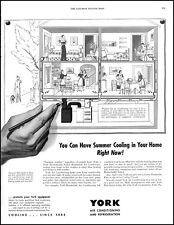 1952 York air conditioning 4 panel illustration home vintage art Print Ad adL34