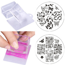 4Pcs Butterfly Flower Nail Art Stamping Plates Jelly Clear Stamper Scraper Set