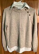 Lauren Ralph Lauren Women's Sweater Dress Shirt Oatmeal Ivory White Petite $100
