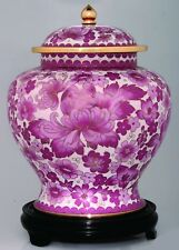 Large/Adult 220 cubic inches Pink Flower Cloisonne Cremation Urn for Ashes
