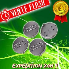 4 Logo Audi Cache Moyeu Centre De Roue Jante Insigne Gris 60mm