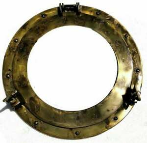 """Nautical Antique Brass Ship 12"""" Canal Boat Round Face Mirror Porthole Wall Decor"""