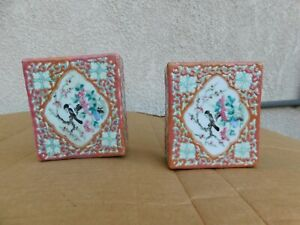 Pair Antique Chinese Hand Painted Wu Cai Bird Flowers Porcelain Bookend