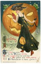 Halloween Winsch Schumucker  Lady in Black Dress Huge JOL Goblins