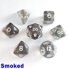 Gem Poly 7 Dice RPG Set Smoked Grey Pathfinder 5e Dungeons Dragons D&D Role Play