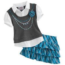 NWT NIP KNITWORKS MOCK layer girl set shirt plaid skirt BLUE school sz 4 $46