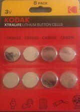 KODAK DC/CR 2032 CR2025  CR2016 TABLET ROUND 3V Lithium 8 BATTERIES