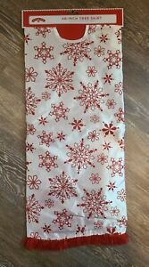 """NEW Holiday Time 48"""" Red White Foil Christmas Tree Skirt Snowflakes Lightweight"""