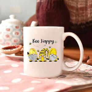 Bee Happy Cute Garden Gnome Bee Mug