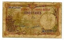 Belgian congo … P-8e … 5 Francs … 4-4-1930 … *VG*
