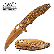 "8.5"" GOLD DRAGON SPRING ASSISTED FOLDING KNIFE Blade pocket open switch"