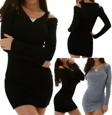 Sexy Miss Damen Pullover Long Pulli Strick Kleid Strass XS/S schwarz blau grau